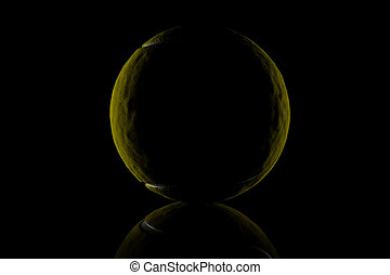 3d rendering of low key tennis ball isolated in front of...