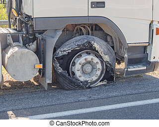 Blown truck tire