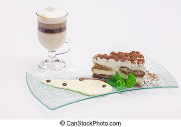tiramisu and a cup of coffee