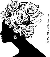 Woman Hair style Silhouette - Abstract woman Hair style...