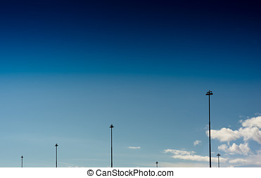 Vertical Norway steet city lamps on blue sky background