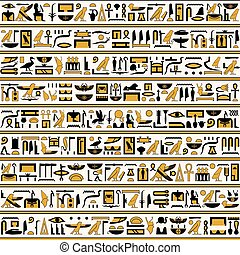 Egyptian hieroglyphs yellow-black color seamless horizontal.