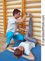elongation treatment of low back pains with instructor