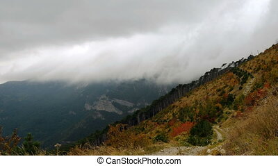 thick clouds over mountains and autumn forest of red and...