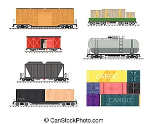 Set of train for delivery cargo. Collection of railway...