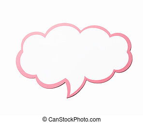 Speech bubble as a cloud with pink border isolated on white...