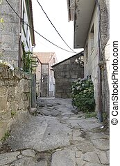 Stone alley in Combarro, a village of the province of...