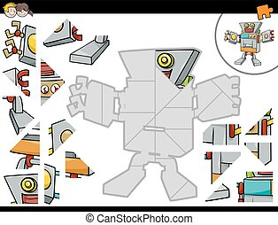 jigsaw puzzle game with robot - Cartoon Illustration of...