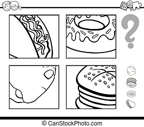 guess food objects coloring book - Black and White Cartoon...