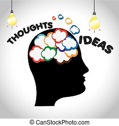 Great ideas and thougnts in a person's mind-illustration