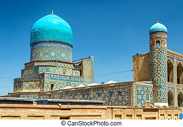 Tilya-Kori Madrasah on Registan Square in Samarkand,...