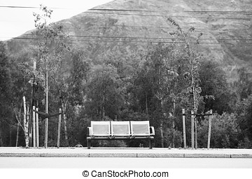 Black and white Norway city bus bench transport background...
