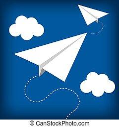 paper plane flying toy vector illustration design