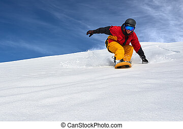 snowboarder very quickly goes down slope freerider -...