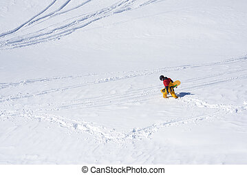 snowboarder stopped due to plains and deep snow -...