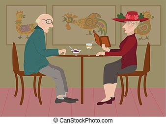 elderly couple - An elderly couple are sitting in cafe and...
