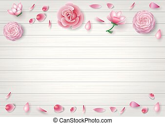 Pink flowers in the background - Pink flowers of roses,...