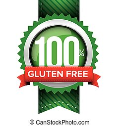 Hundred percent gluten free green ribbon