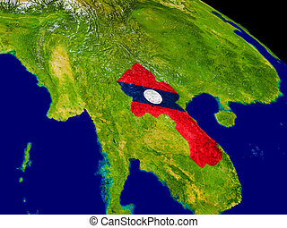 Laos with flag on Earth