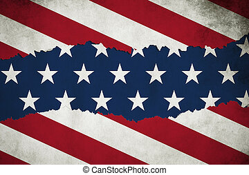 grunge ripped paper American USA flag pattern, torn paper