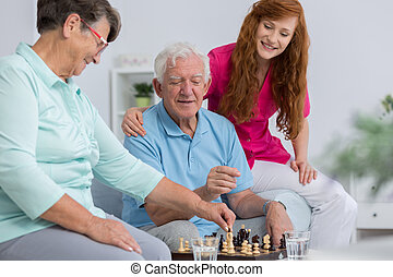 Senior couple and carer - Senior couple and nice carer...