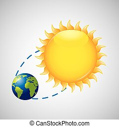 earth rotation the sun icon design vector illustration eps...