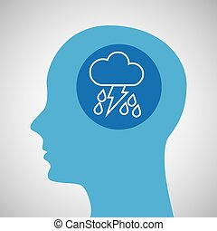 symbol weather icon. silhouette head and rain lightning...