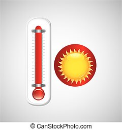 red thermometer icon sunny weather meteorology