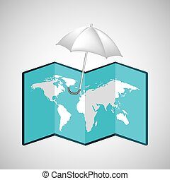 map with icon umbrella weather graphic