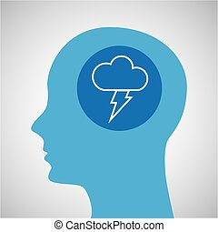 symbol weather icon. silhouette head and cloud lightning...