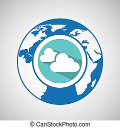 weather forecast globe cloud with shadow icon graphic