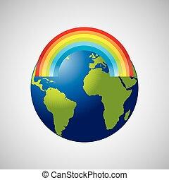 globe earth weather meteorology rainbow