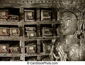 Double exposure of  tibetan library and Buddha Maitreya