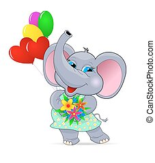 Baby elephant with flowers and balloons. Greeting card ....