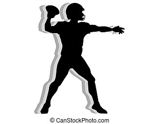 American football quarterback silhouette isolated on white...