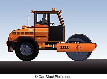 Road roller - Vector illustration of road roller. Orange...