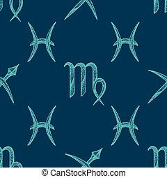 vector zodiac signs seamless pattern - vector bright teal...