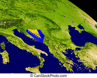 Bosnia with flag on Earth - Map of Bosnia with embedded flag...
