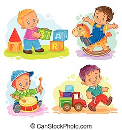 Set of vector icons little boy playing with toys - Set of...