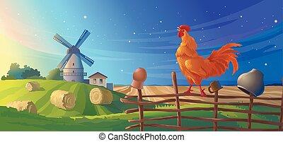 Vector illustration rural summer landscape
