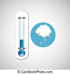 thermometer blue. icon snow weather design vector...