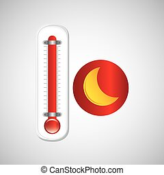 red thermometer icon moon weather meteorology