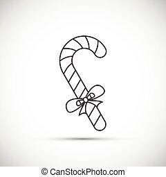 mager, lijn, Kerstmis, versuikeren, pictogram