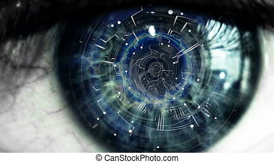 Technology background - Eye close up with technology...