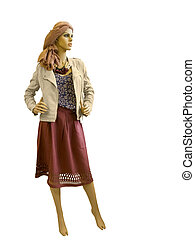 Full-length female mannequin dressed in beige jacket and red...