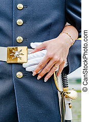 Newly weding couple showing off their wedding rings. - A...