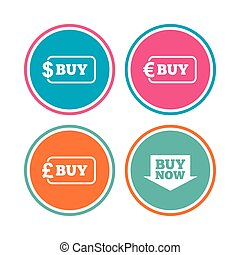 Buy now arrow sign. Online shopping icons.