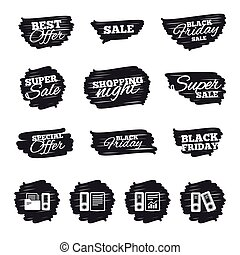 Accounting icons. Document storage in folders. - Ink brush...