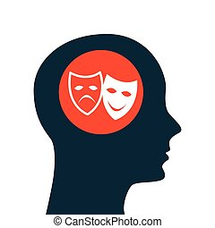 silhouette head. concept cinema theatrical mask vector...