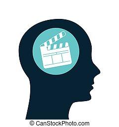 silhouette head. concept cinema clapper